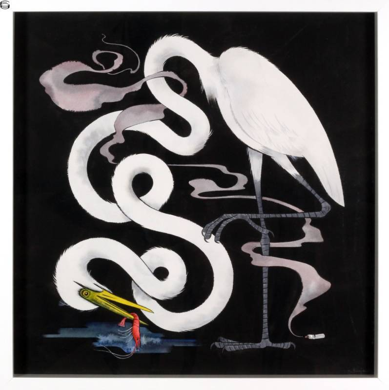 Long Neck Bird with Smoking Butt