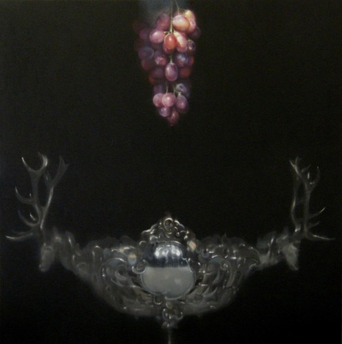 Still Life with Stag's Head Silver & Red Grapes